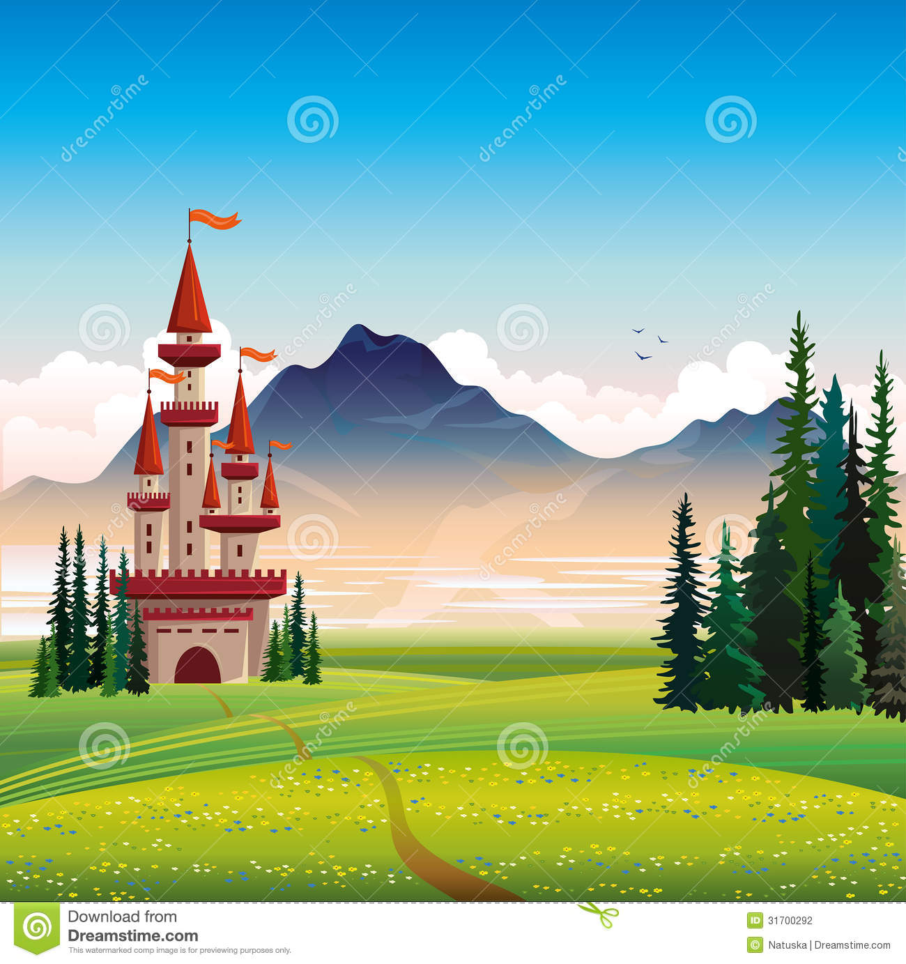 Summer Landscape With Castle And Green Field Stock