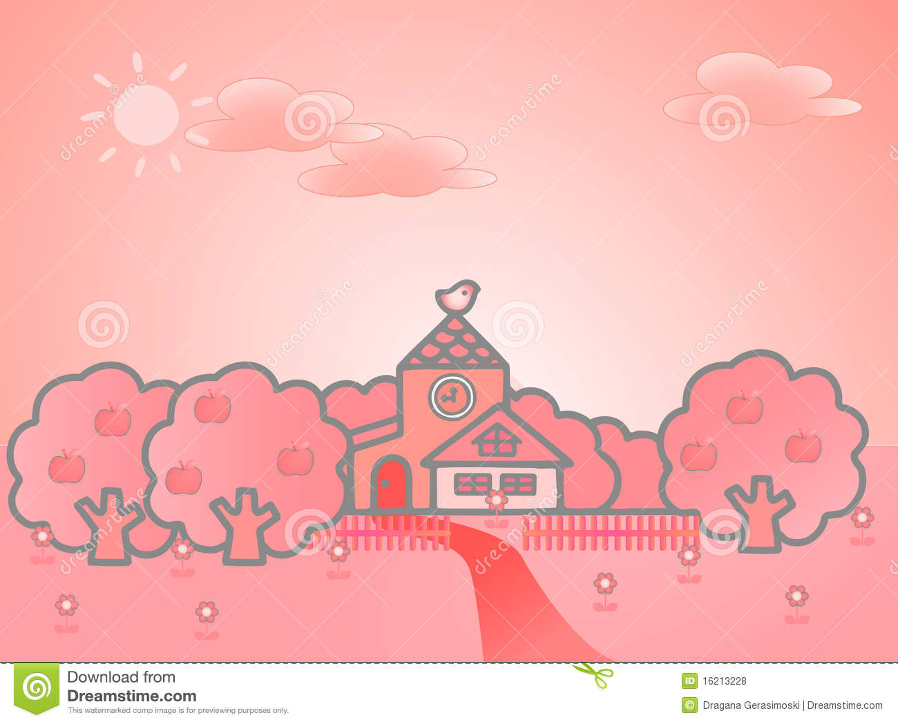 Summer Landscape With Cute Tower Royalty Free Stock Photos