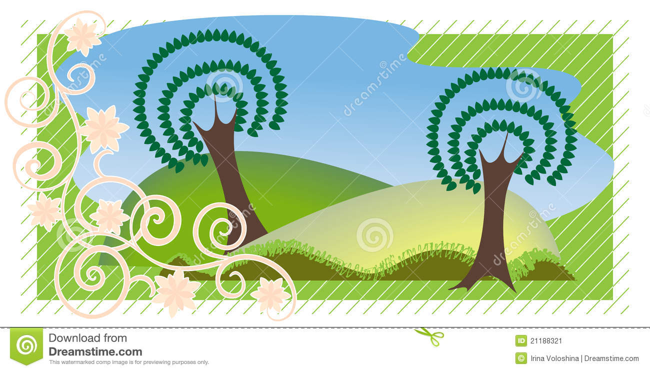 Summer landscape in the decorative background