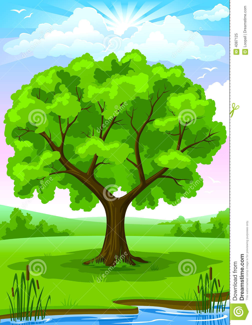 Summer landscape with old tree