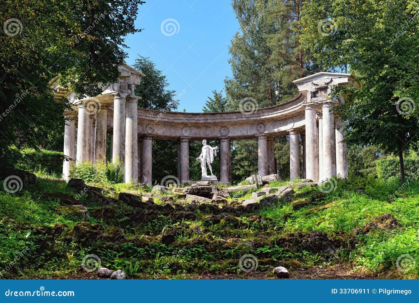 Summer Landscape Of The Pavlovsk Garden Apollo Colonnade