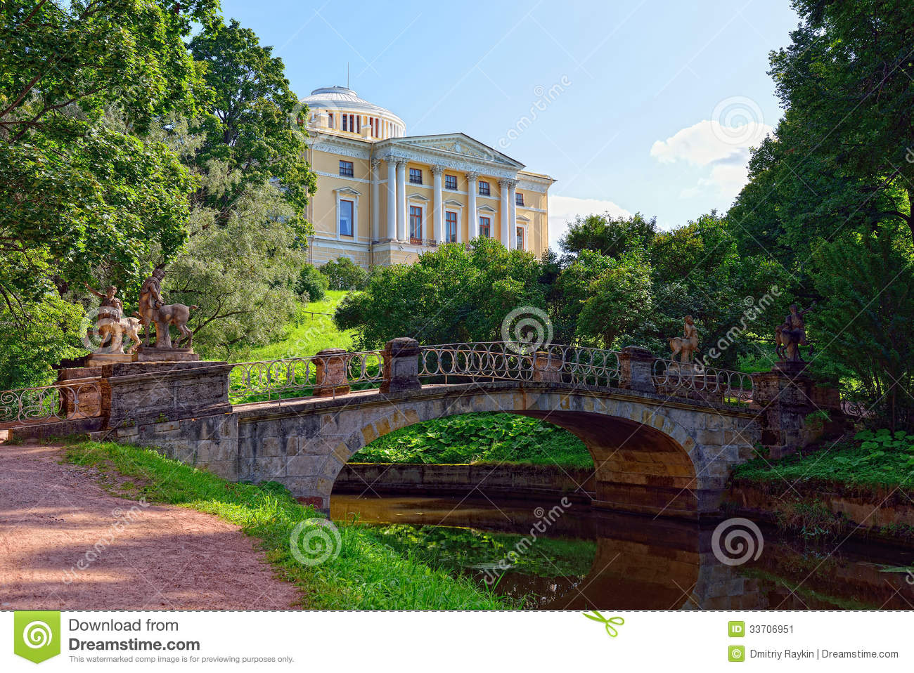 Summer Landscape Of The Pavlovsk Garden Russia View To