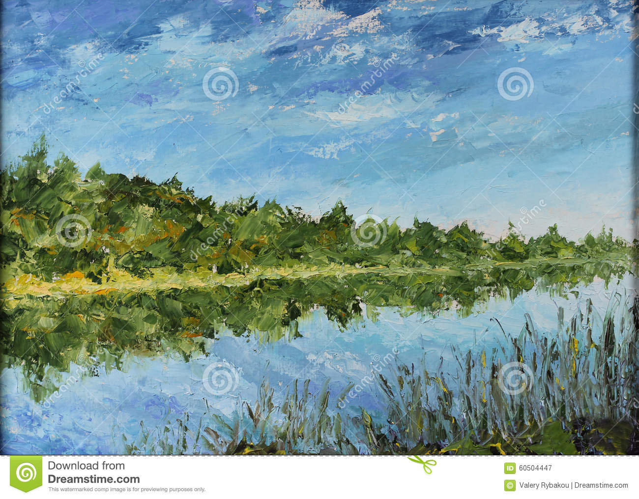 Green Nature Reflection On Water Painting