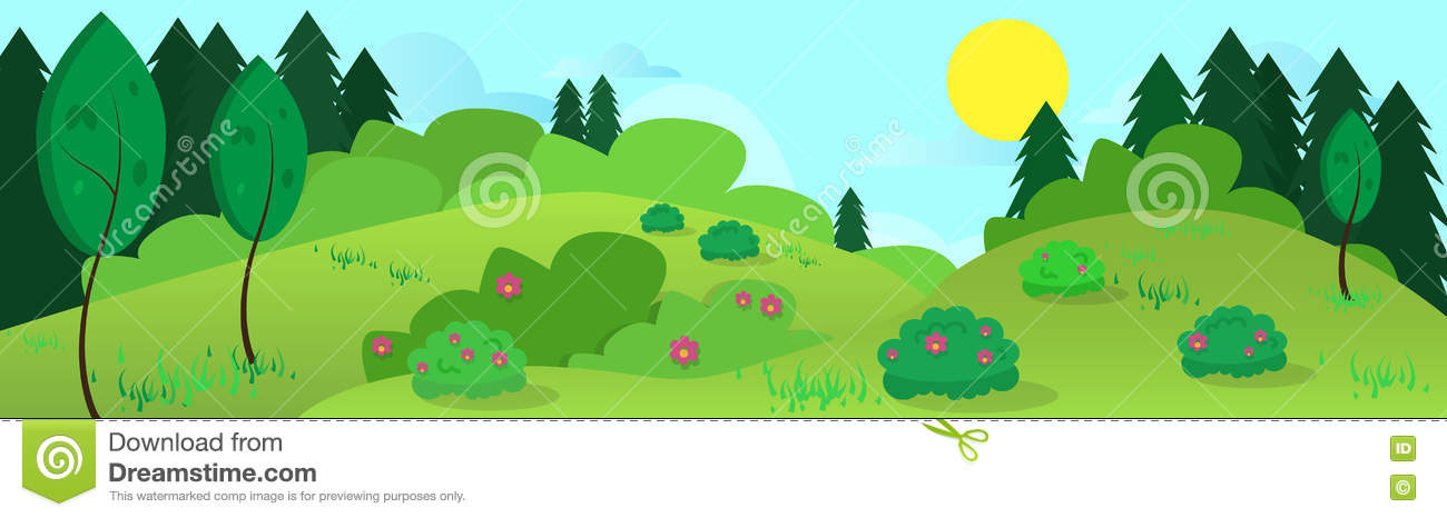 Download Summer Landscape Road Blue Cloud Sky With Sun Green Grass Forest Stock Vector - Illustration of cloud, horizon: 75874331