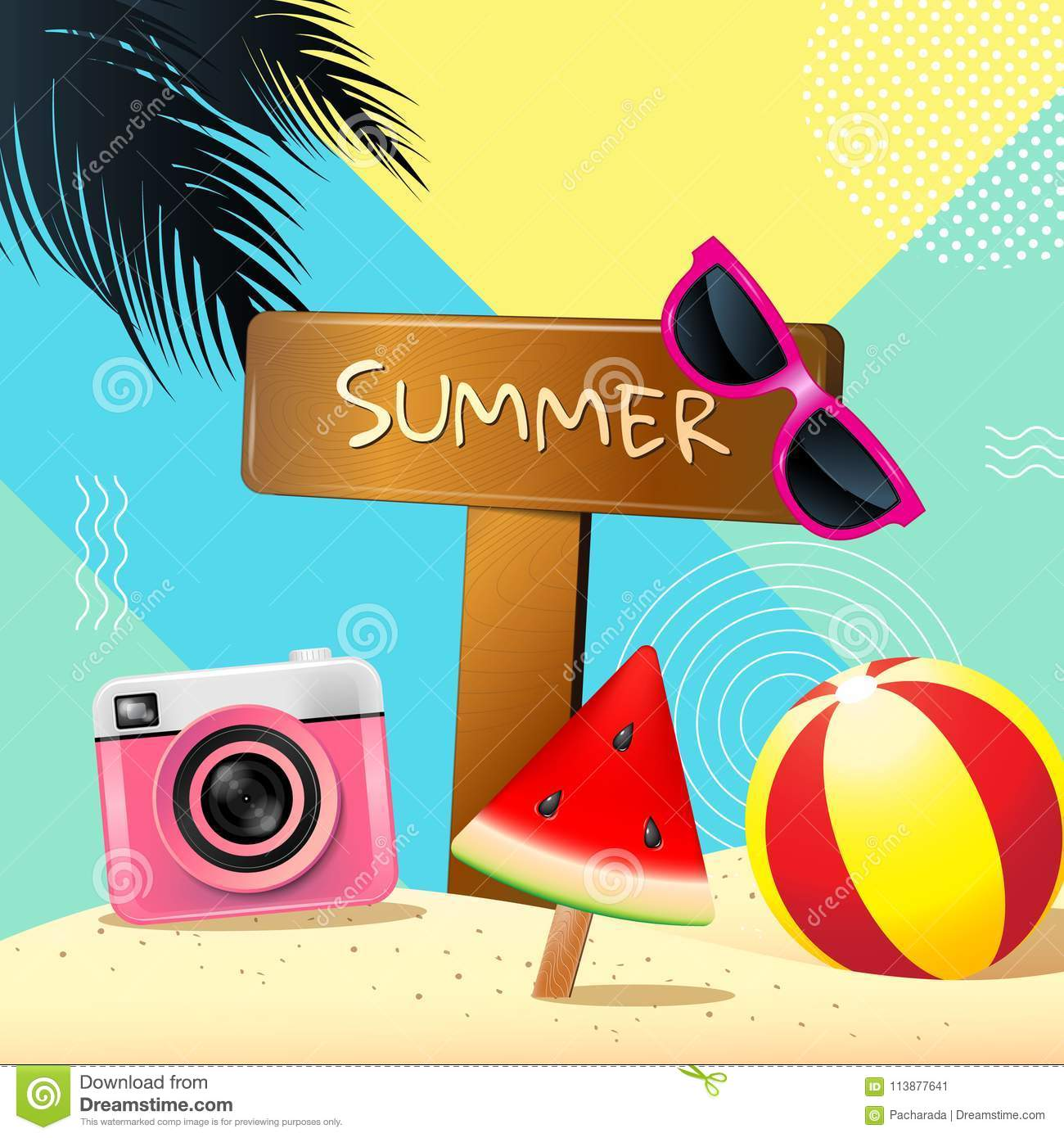 Summer, Layout Design, Greeting Card, Cover Book, Banner, Templ. Template,  Cute.