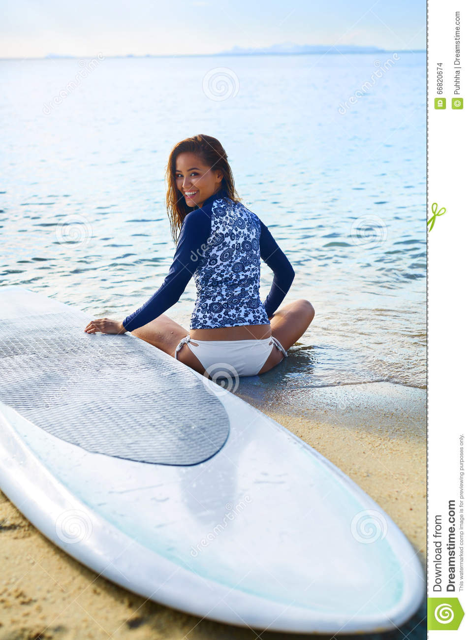 Summer Leisure Sport Activity Happy Woman With Surfboard On