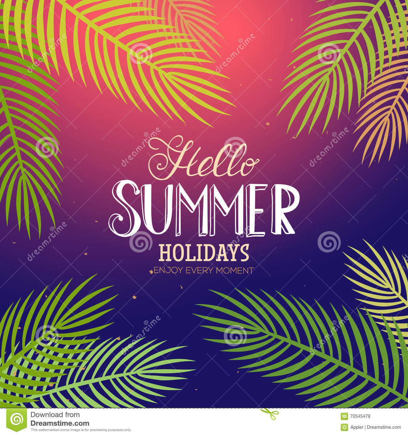 Summer Lettering With Palm Stock Vector - Image: 70545479