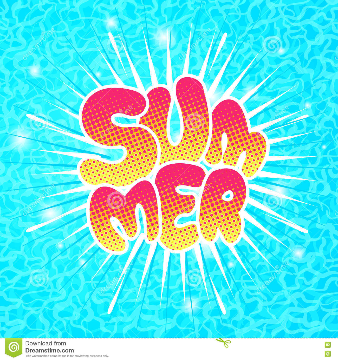 Vector Vintage Pop Art Beach Holiday Illustration Stock: Summer Lettering In Pop Art Comics Style. Stock Vector