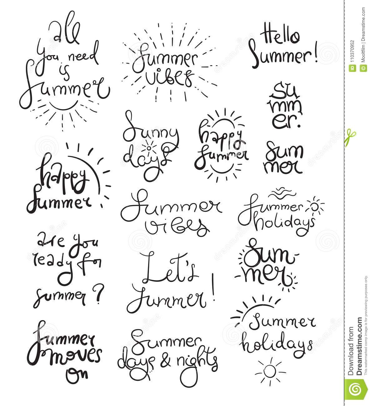 Summer Lettering And Symbols Stock Vector Illustration Of Drawing