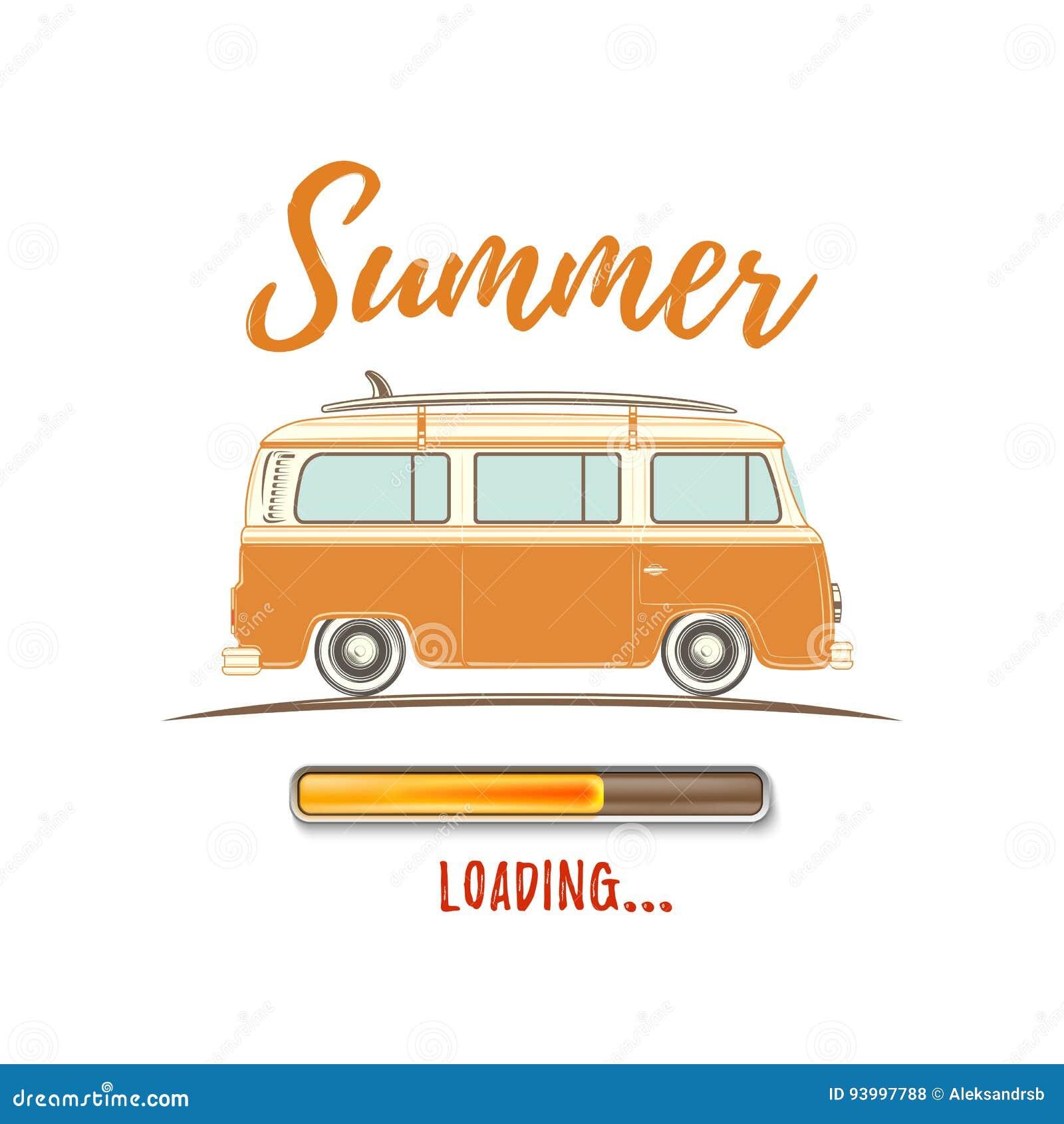 Summer Loading. Vintage, Retro Camper Van. Stock Vector ...