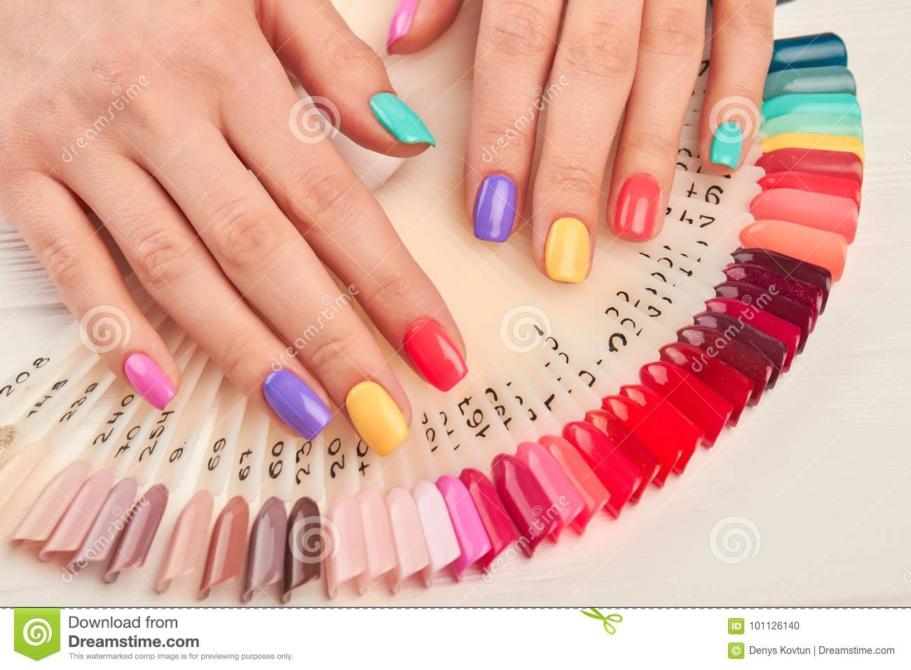 Summer Manicure And Nail Color Samples. Stock Photo - Image of arms ...