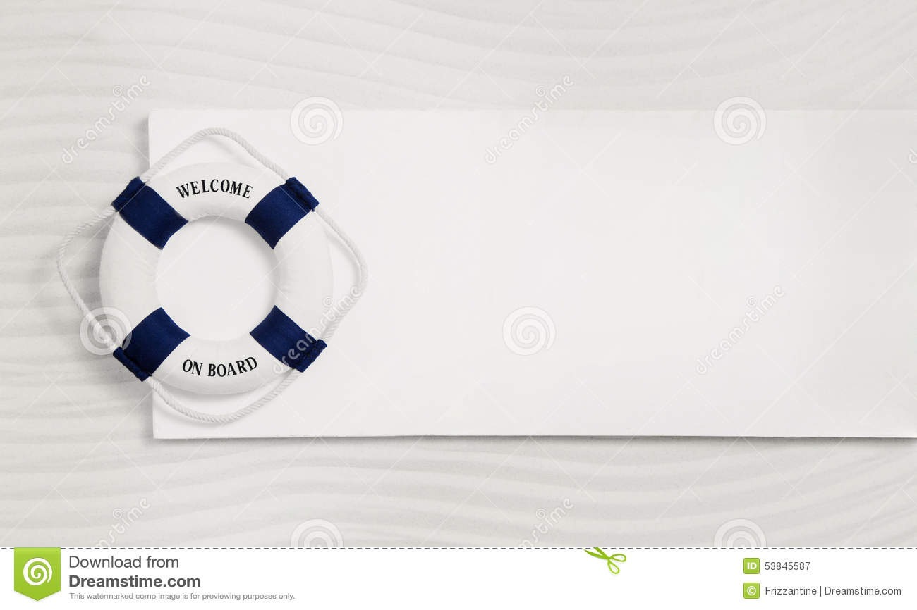 Summer Maritime Background In White And Blue With A Life