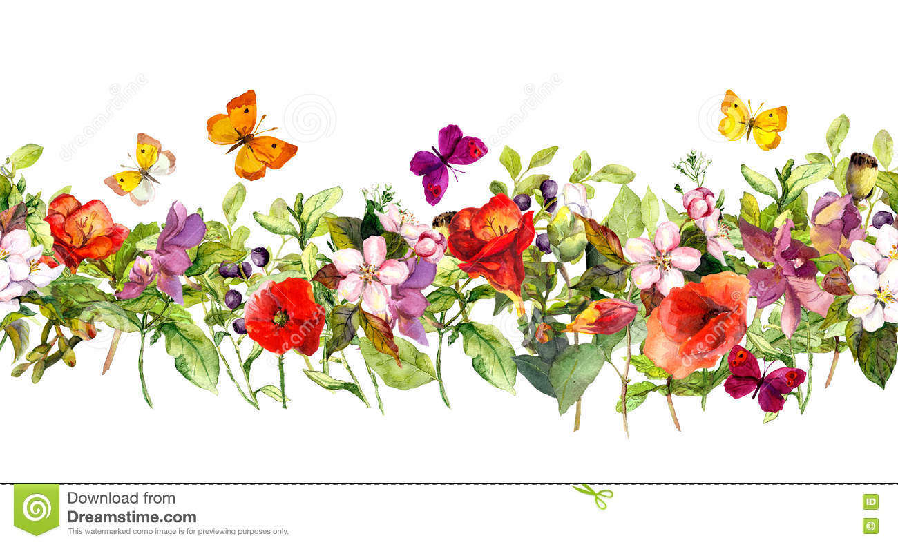 Summer meadow flowers and butterflies. Repeating frame. Watercolor