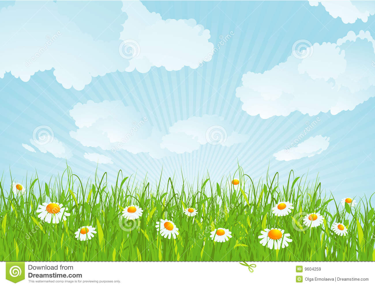 Summer Meadow. Vector Background. Royalty Free Stock Images - Image ...