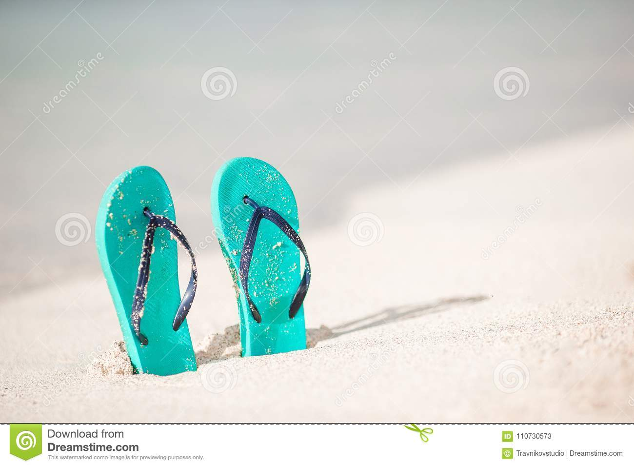 23423f845 Summer Mint Flip Flops With Sunglasses On White Beach Stock Image ...