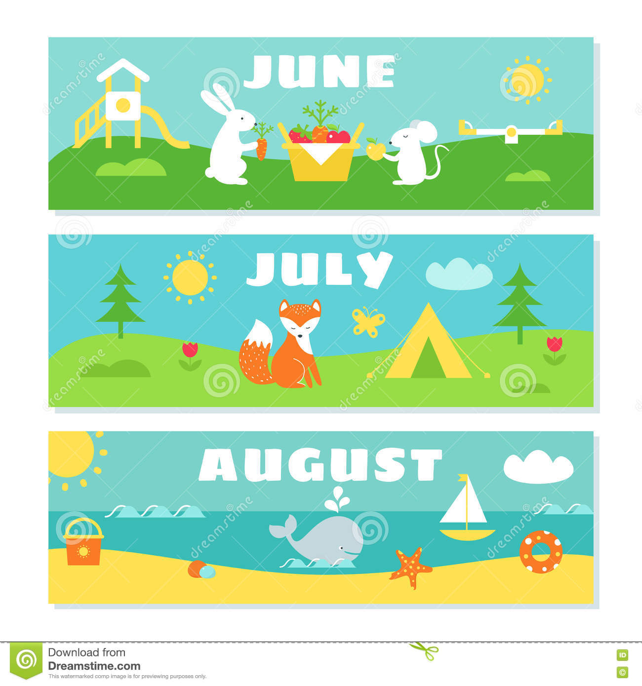 Calendar Month Illustration : Summer months calendar flashcards set stock vector