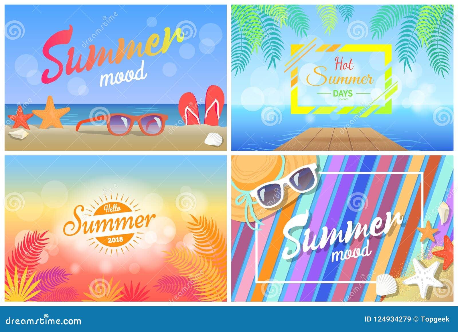 bdcba58d7716 Summer mood hot days hello summertime 2018 posters set sunglasses on beach