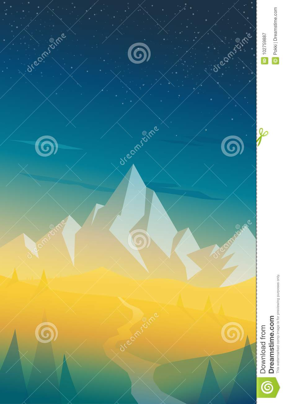 Summer Mountain Scenery With Pine Trees River Stock Vector