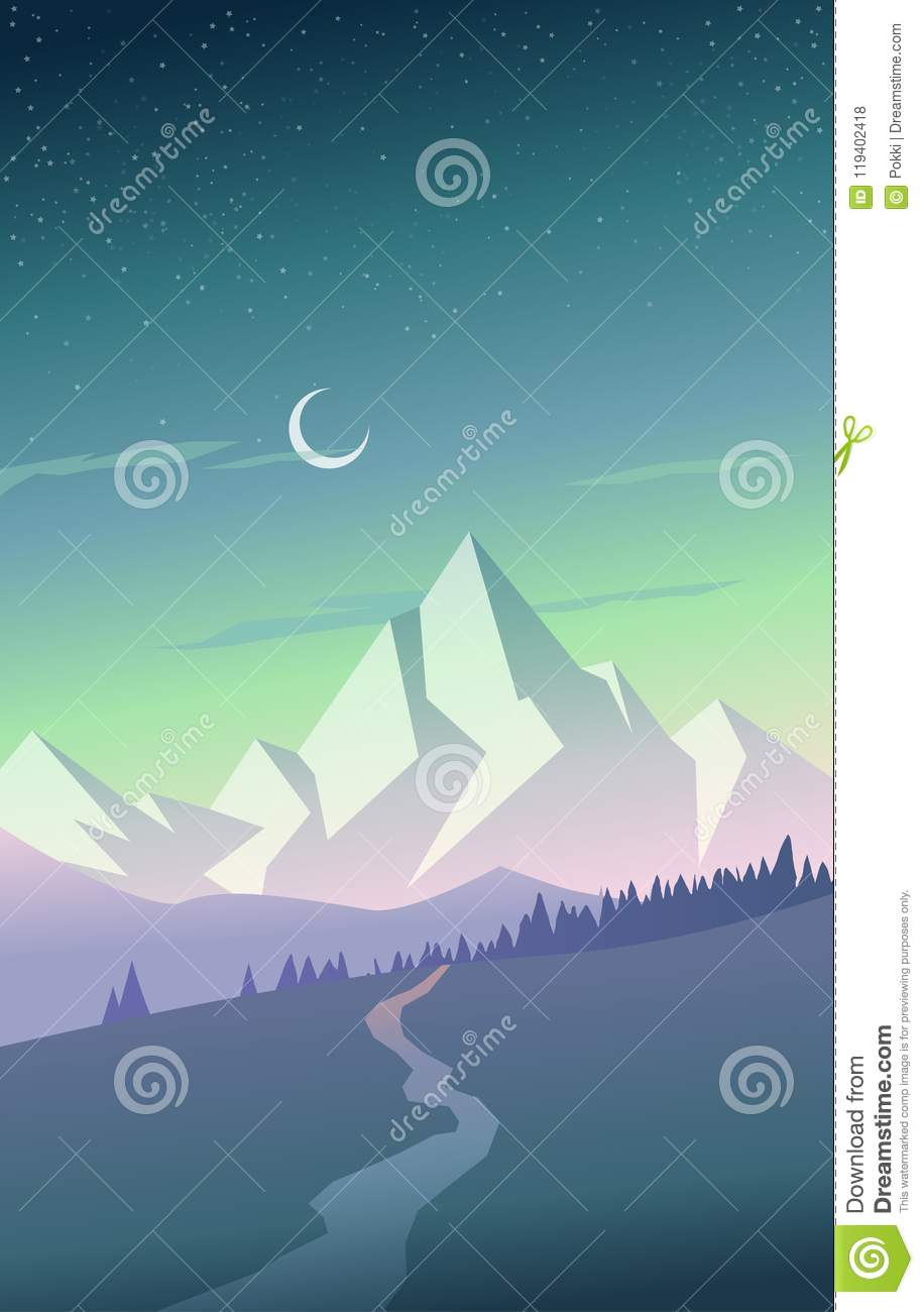 Summer Mountain Scenery With Pine Trees River And Hills Stock
