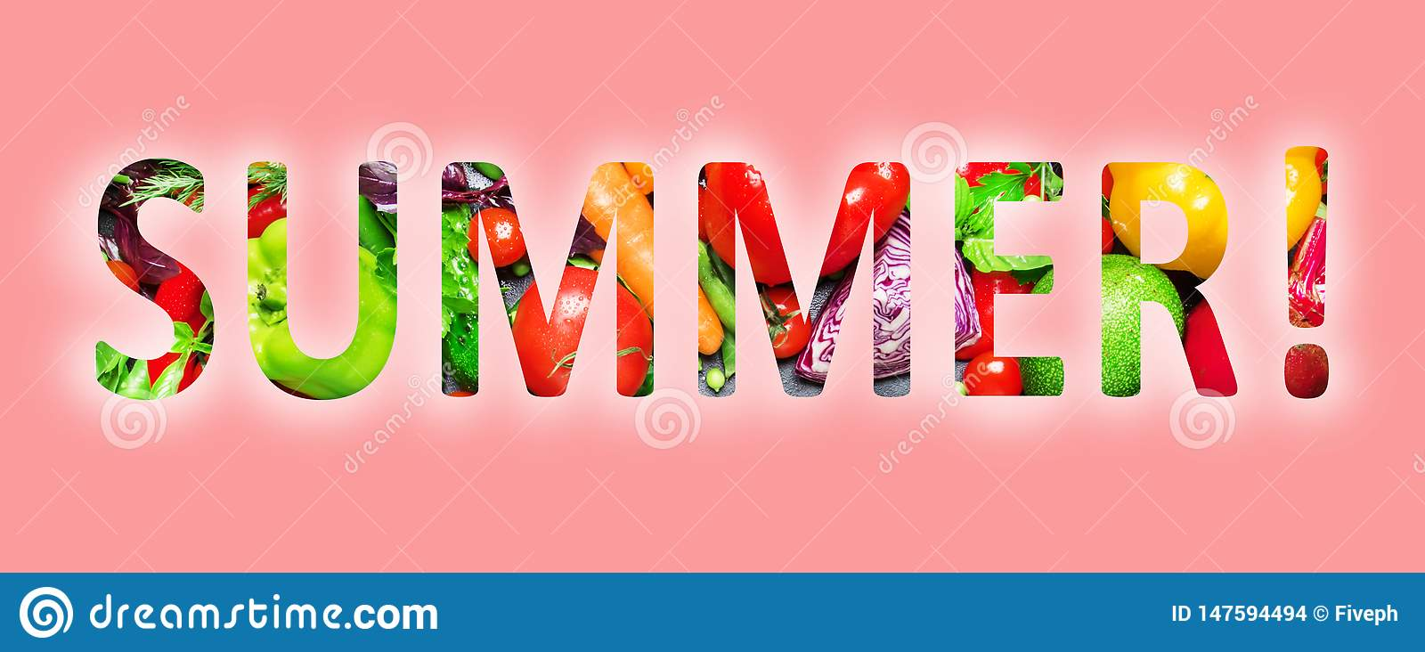 Summer, multi-colored text cut out of vegetables photo, the inscription on pink background