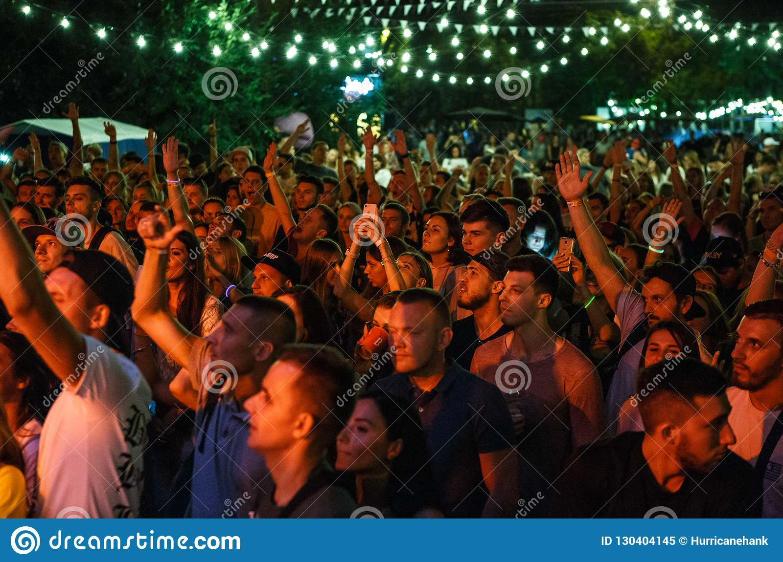 Summer Music Festival Crowd Partying Outdoor Editorial Image - Image