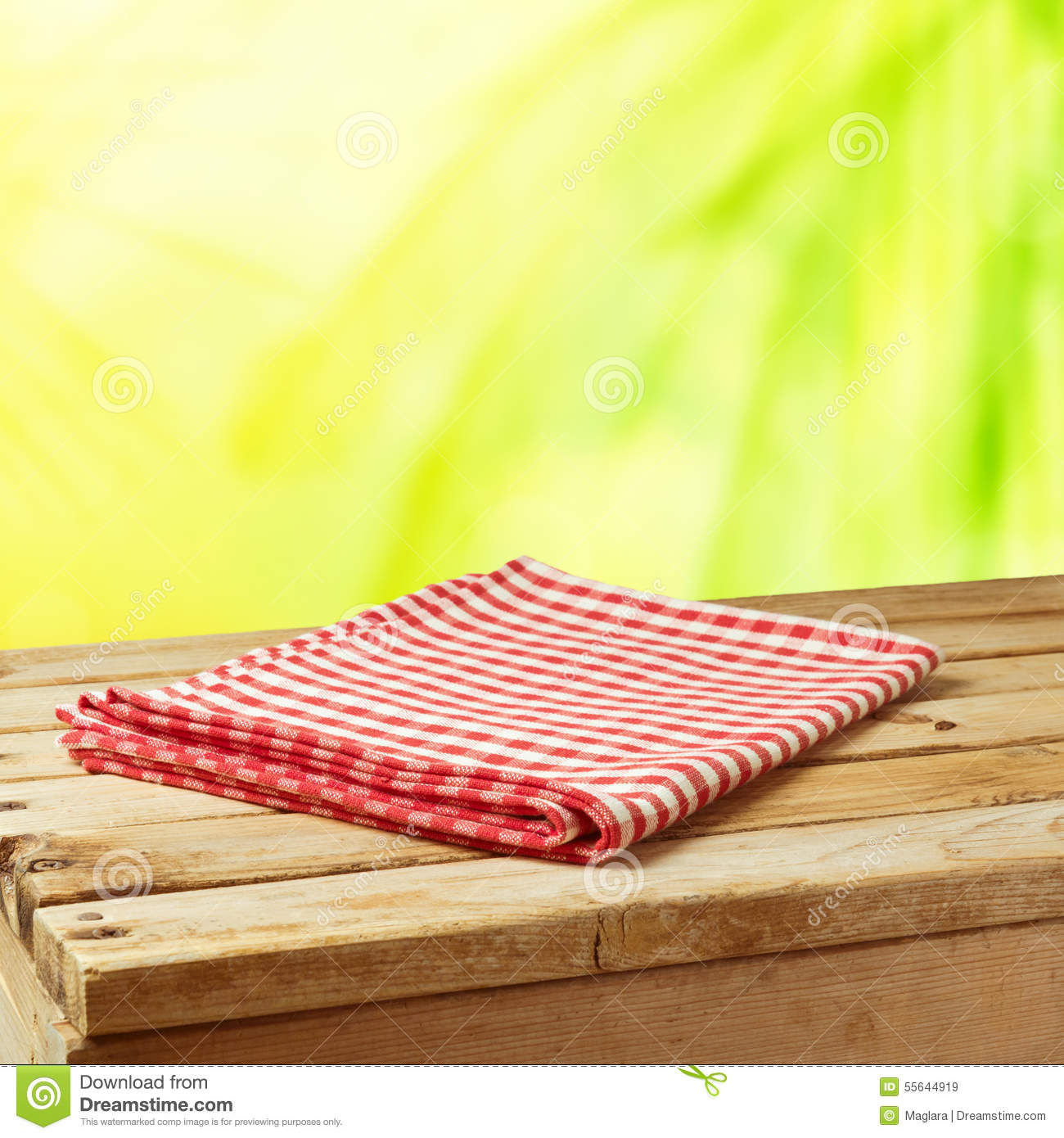 Royalty Free Stock Photo. Download Summer Nature Background With Wooden  Table And Tablecloth ...