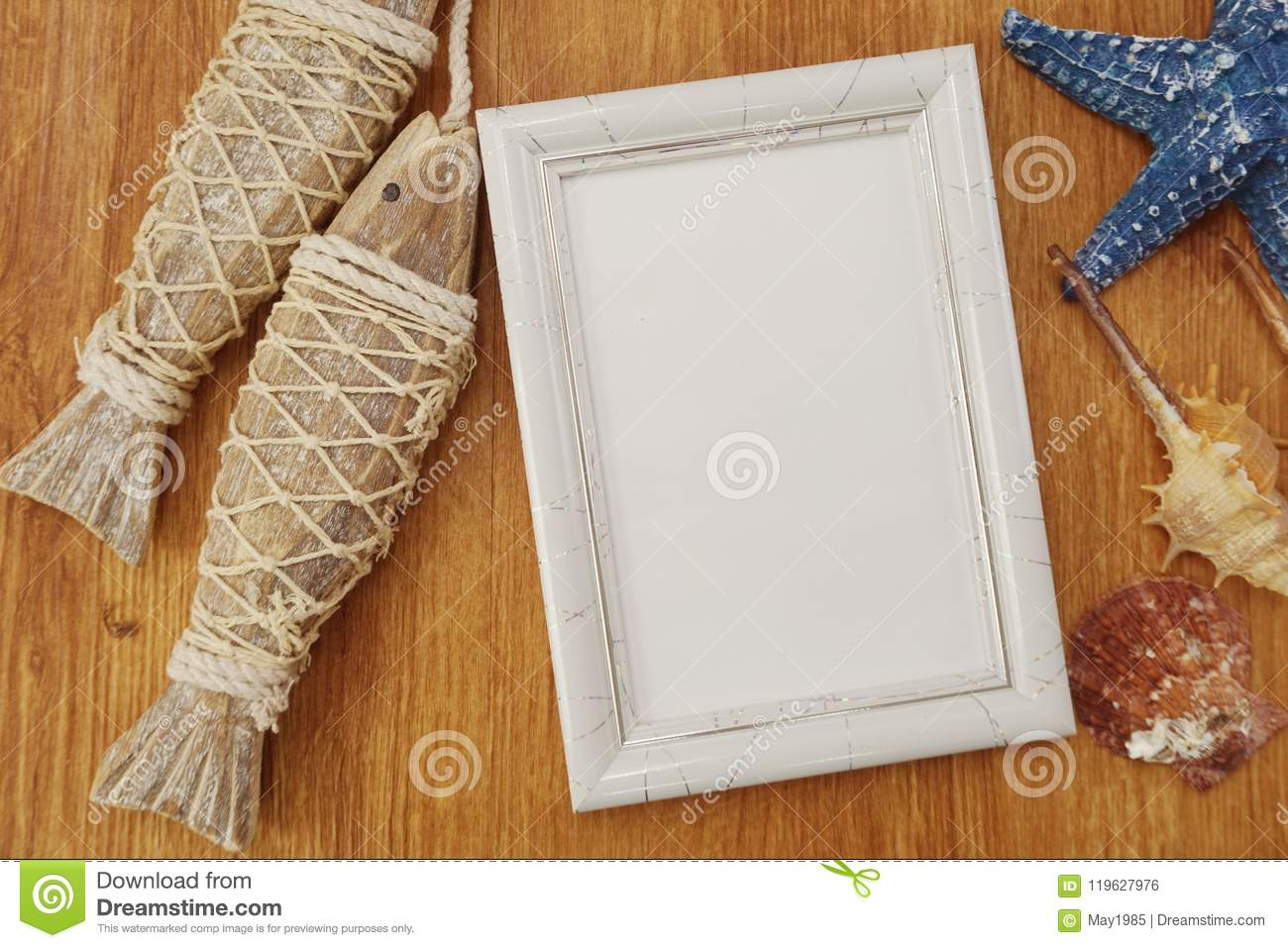 Summer navy background, photo frame and various marine design elements