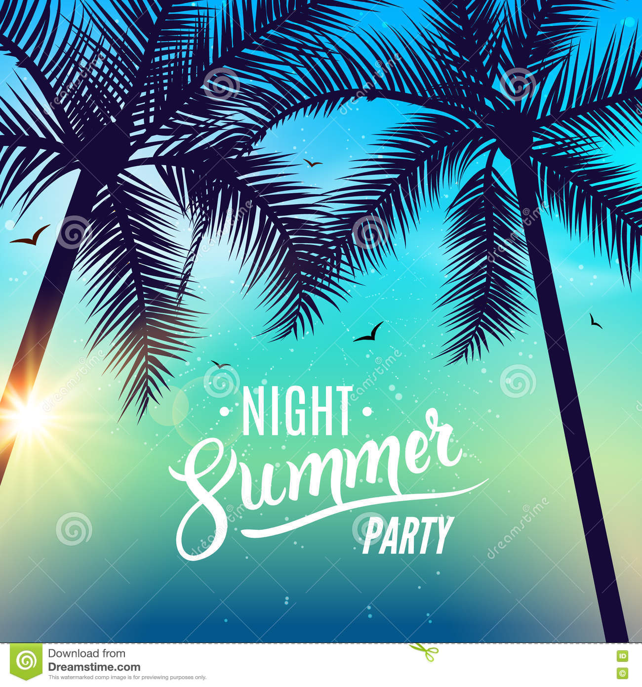 Beach Summer Night Party Poster Travel Vacation Design Flyer