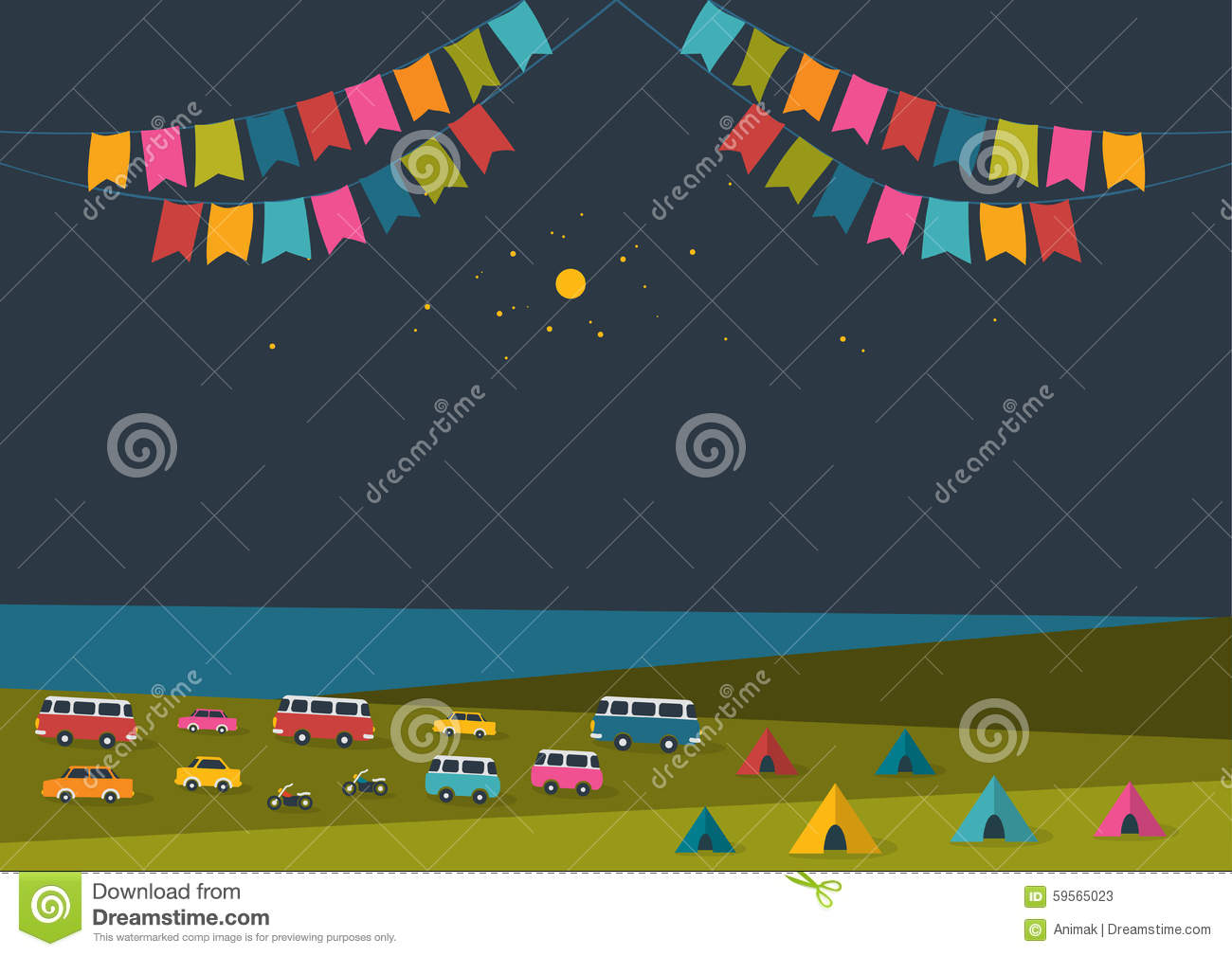 summer night festival  party music poster  background with