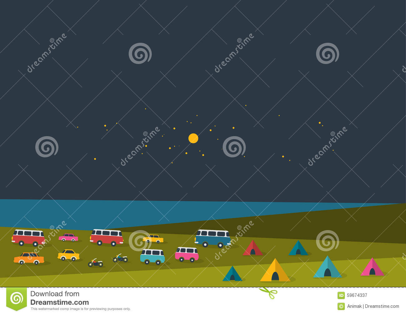 Summer Night Festival, Party Music Poster, Background With Color Flags And Retro Cars, Vans ...