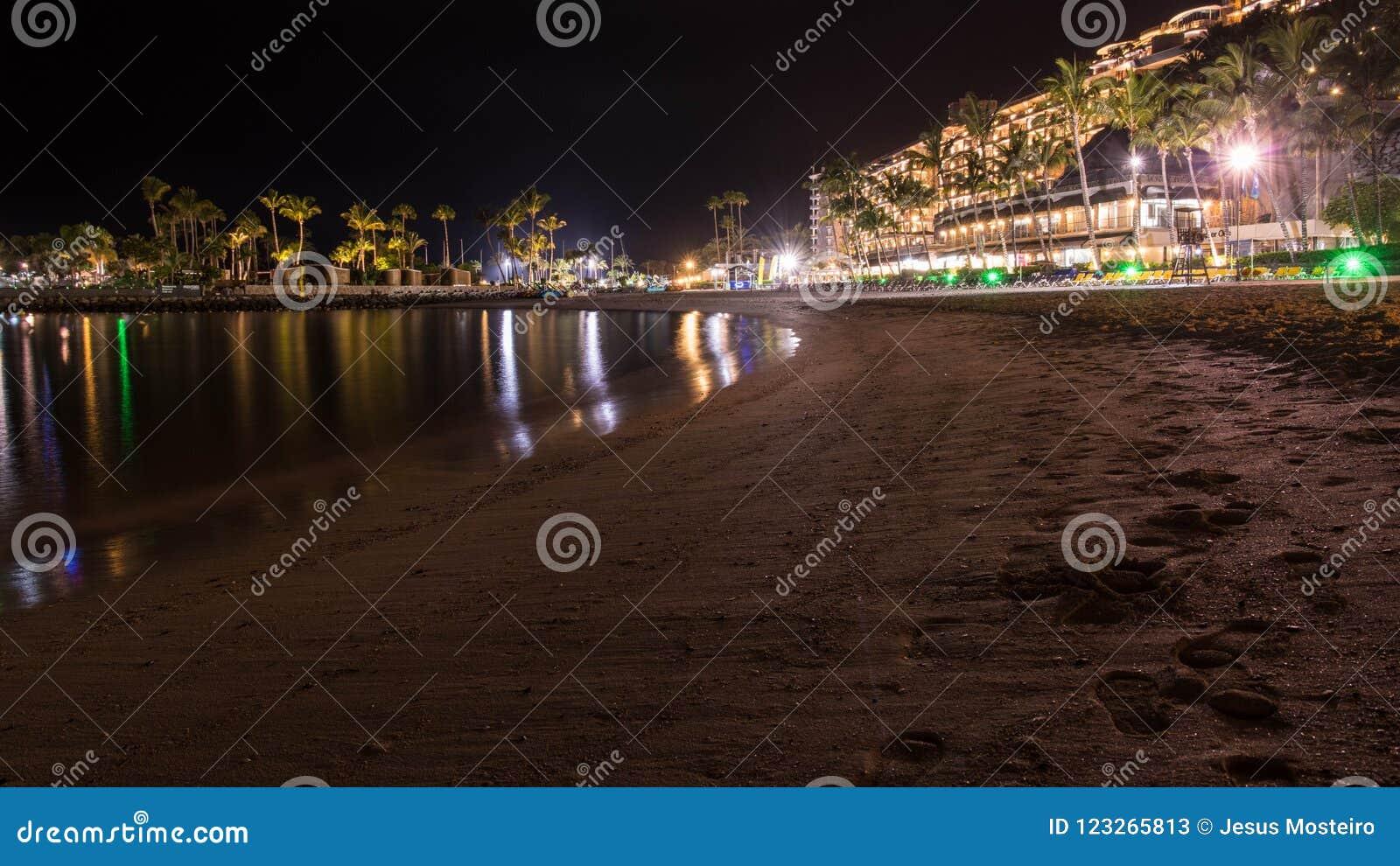 Summer night on the island of Gran Canaria Spain
