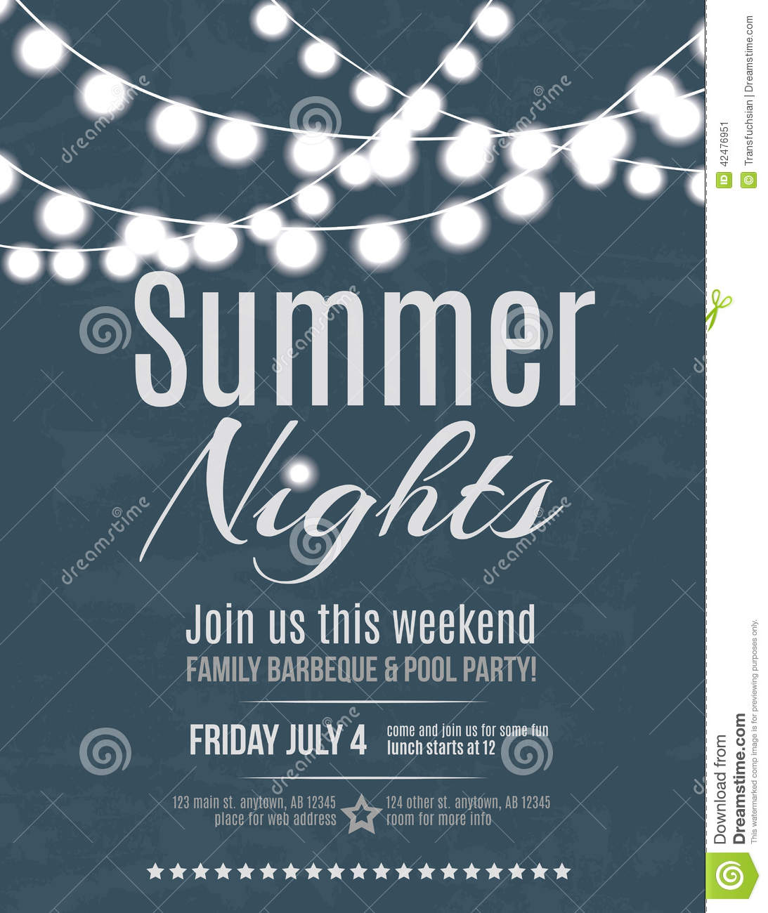Summer Night Party Invitation Vector Image 42476951 – Party Invitation Flyer