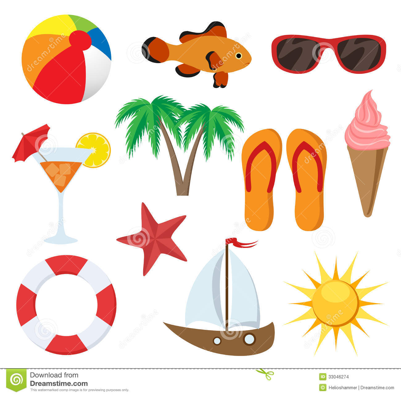 Summer object set stock photo. Image of leisure, object - 33046274