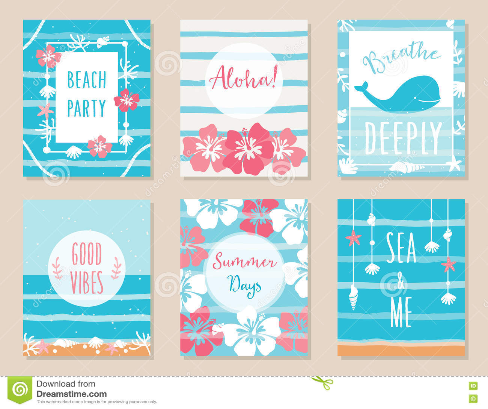 Beach Theme Card Stock: Summer Ocean And Beach Theme Hawaiian Posters And Cards