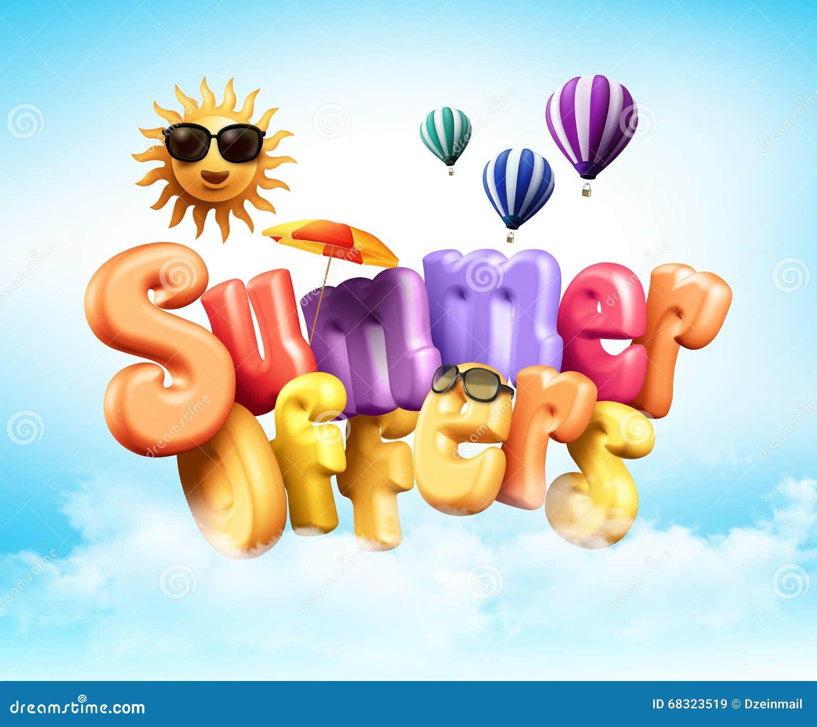 Poster design 3d - Summer Offers Poster Design Illustration In 3d Rendered Graphics Stock Illustration
