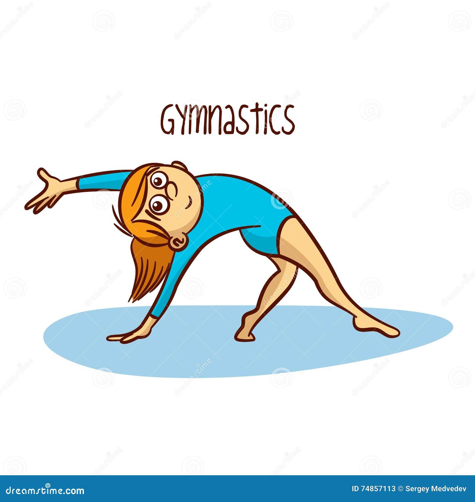 Summer olympic sports gymnastics rhythmic cartoon vector