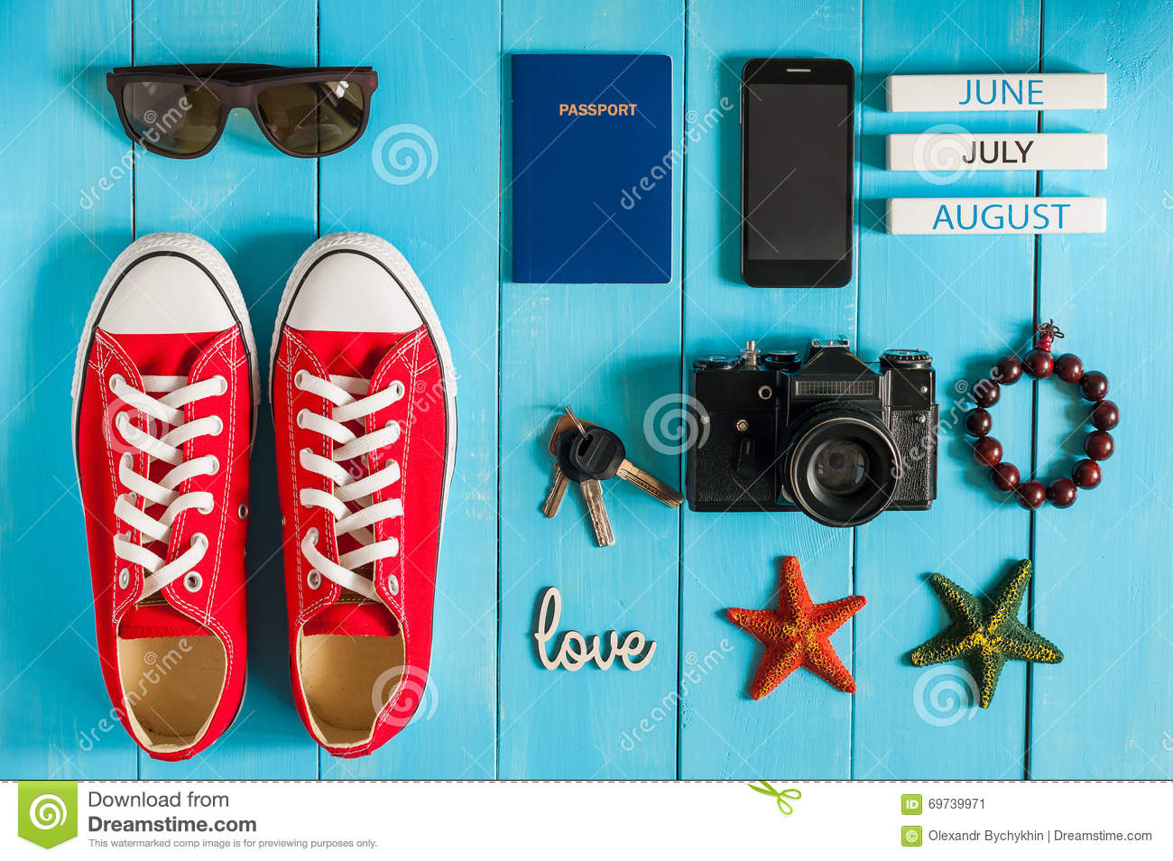 Summer outfit of traveler, student, teenager, girl, young woman or guy. Overhead Of essentials for modern Young person