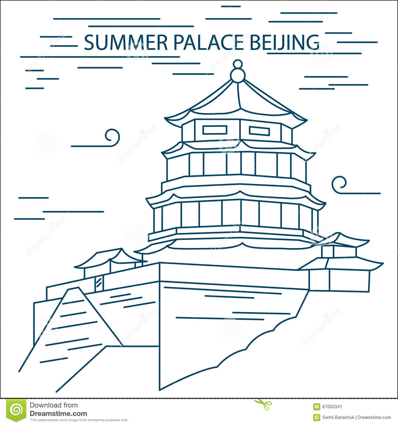 Line Art Illustration Style : The summer palace scenery beijing china stock vector