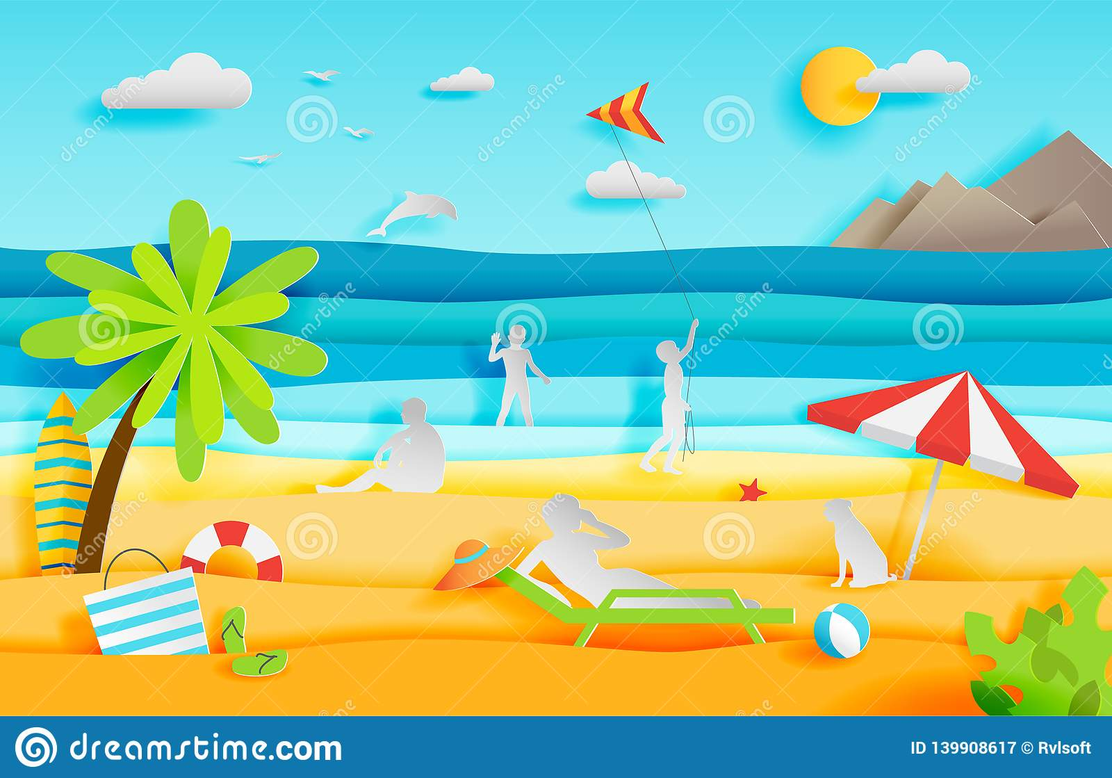 Summer panorama of tropical beach with people