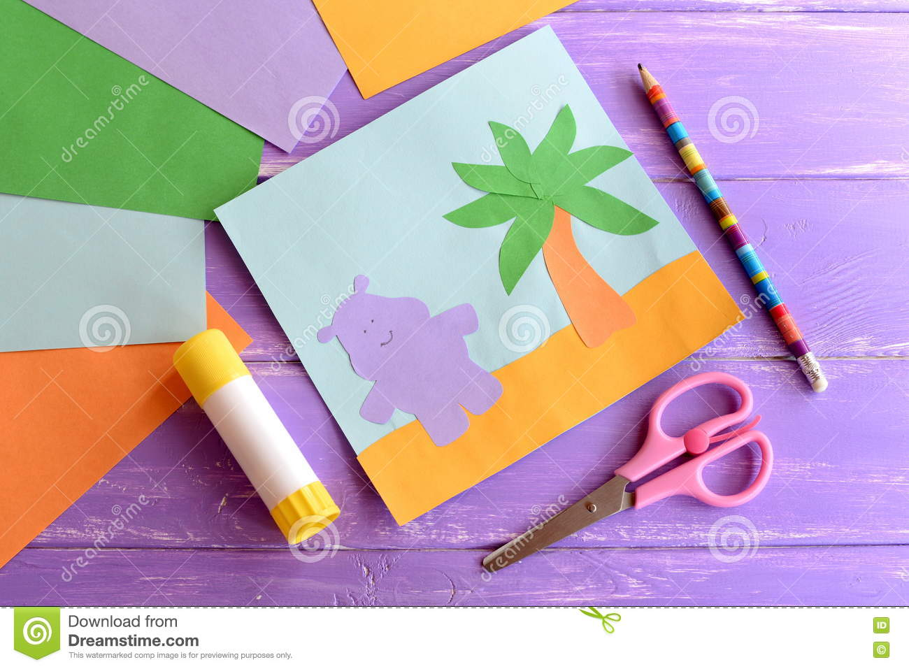 Summer Paper Card Scissors Glue Stick Colored Paper Sheets On