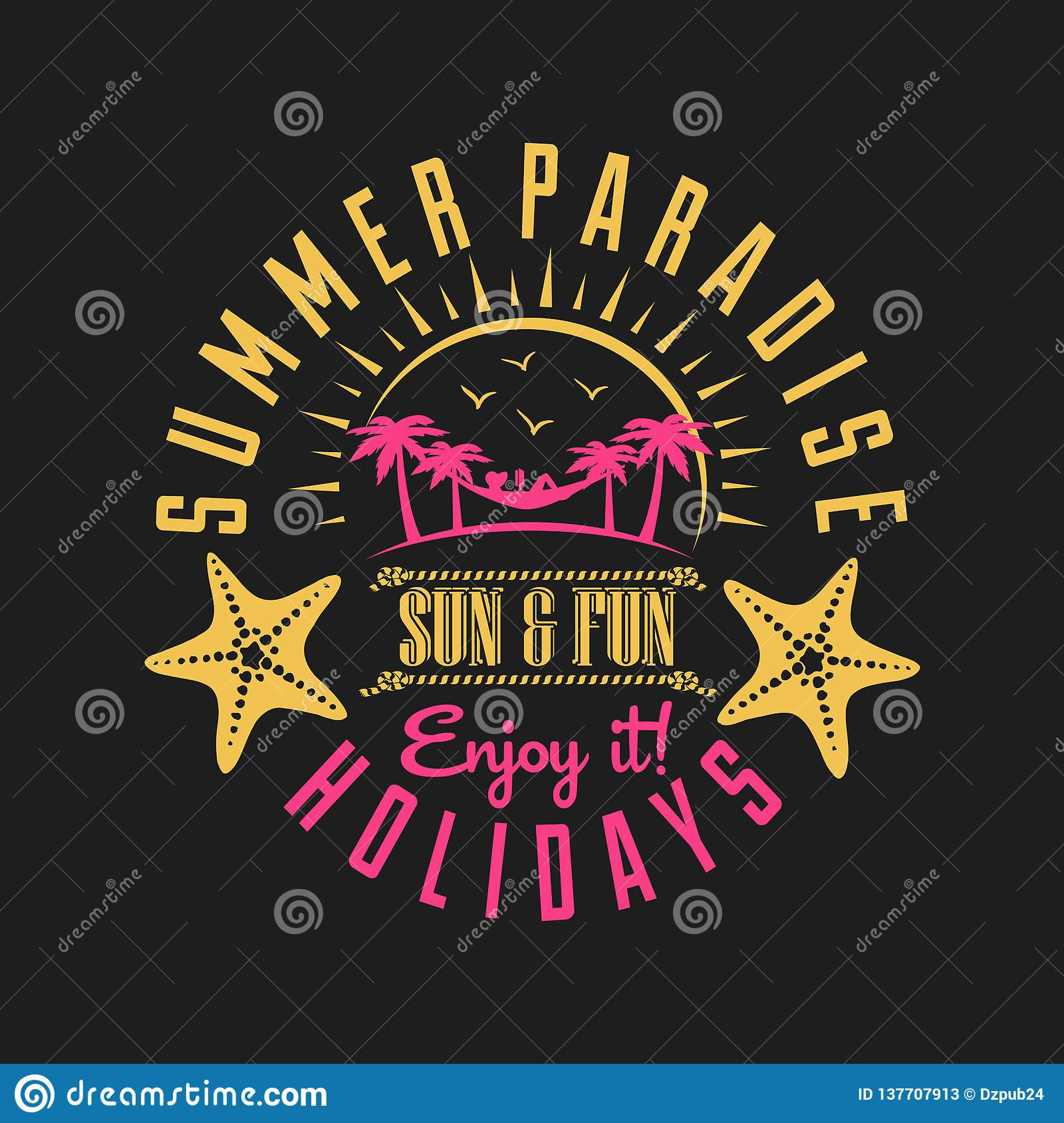c44a9965b92f Summer paradise sun and fun holidays t-shirt vector quote. Hand lettering.  lovin