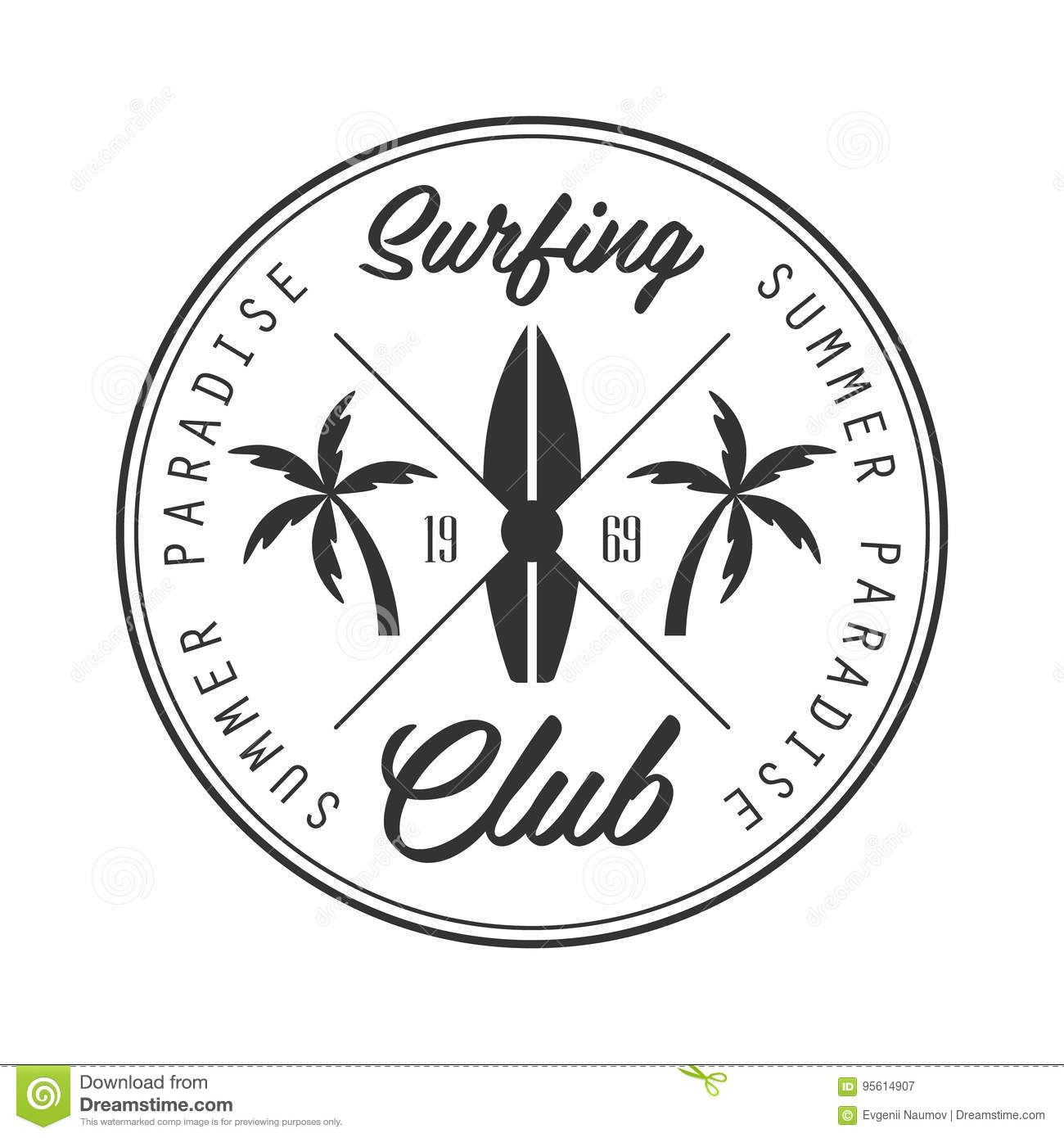 summer paradise surfing club logo template black and white vector