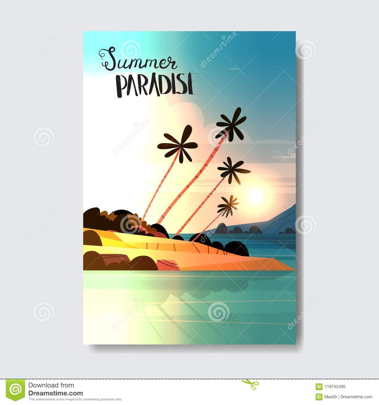 Verzamelingen Posters New Maldives Beach and Sea Palm Trees on a Tropical Island Paradise Poster