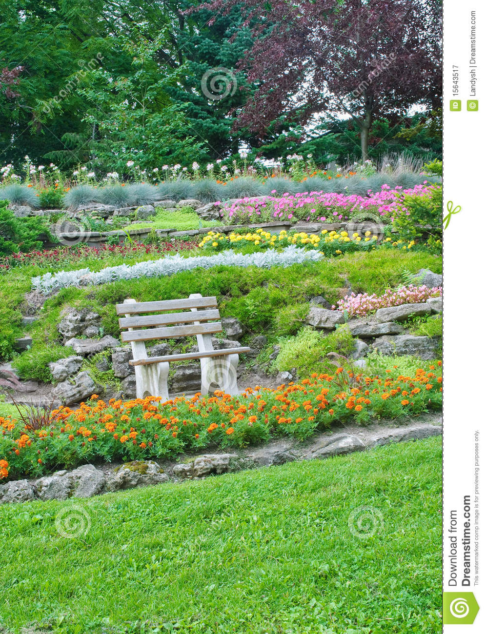 Summer park, bench in a designed garden, blooming flowers, decorative ...