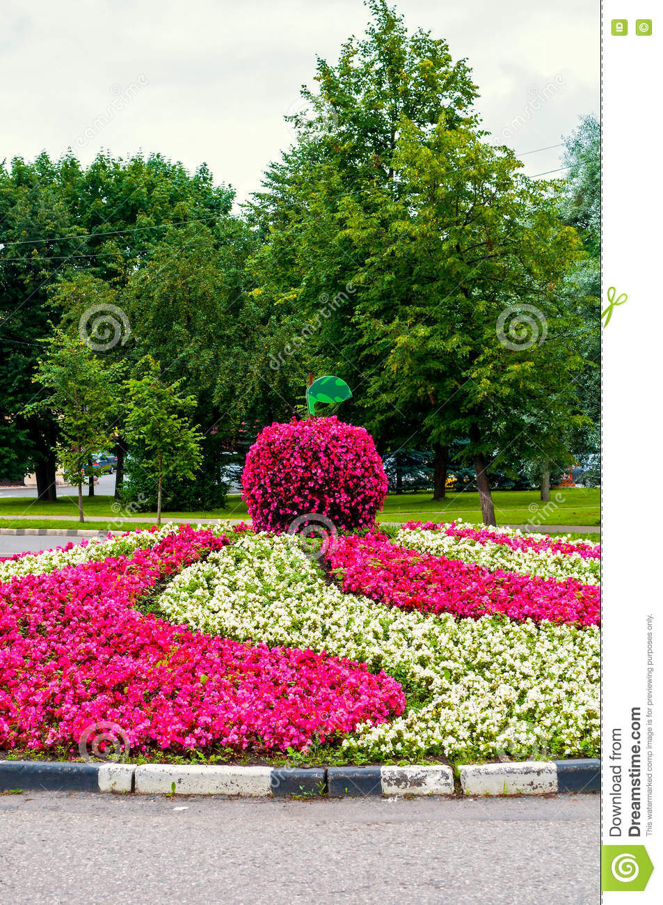 Summer Landscaping summer park landscaping view - flowerbed with landscaping detail
