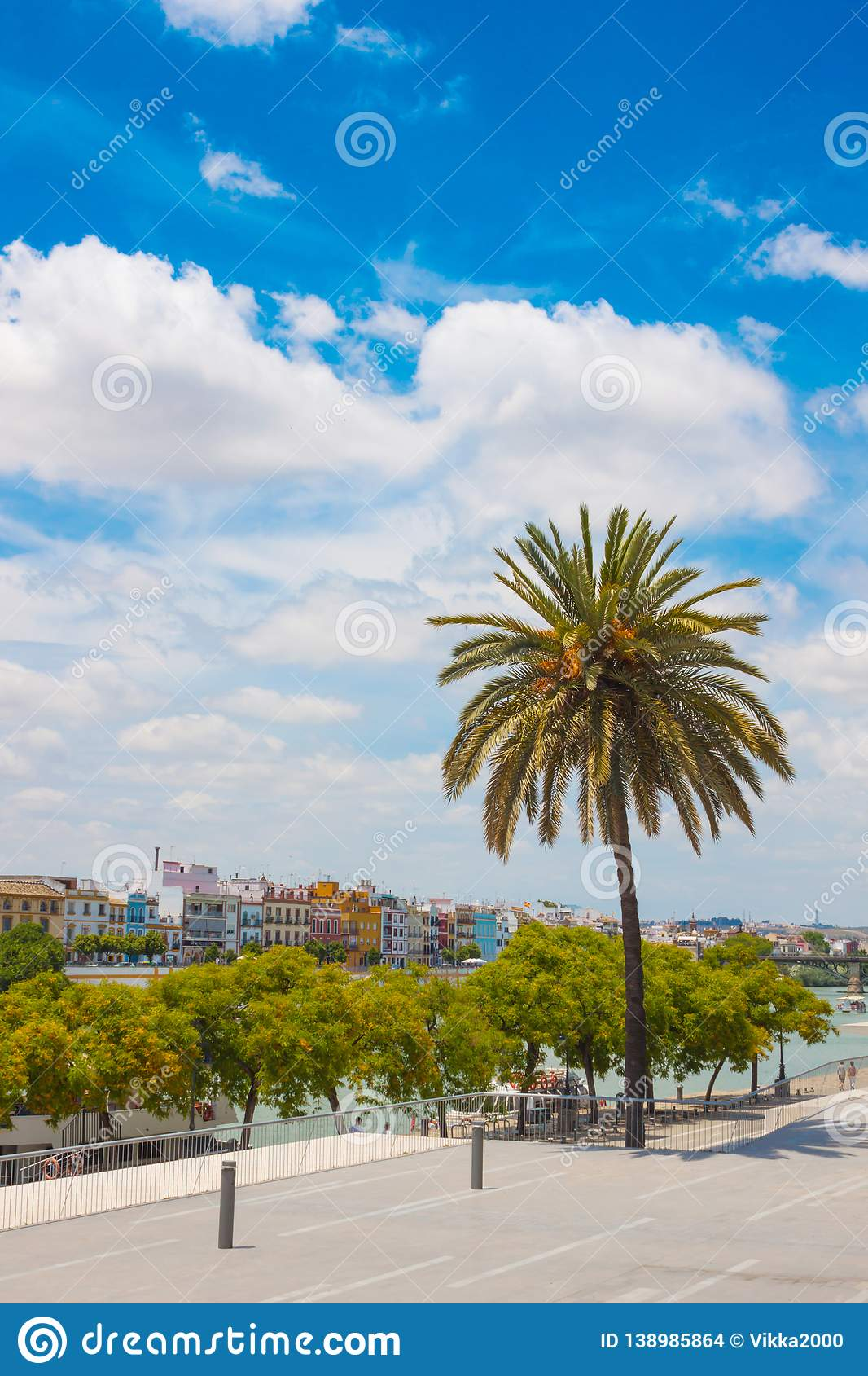Summer park next to Guadalquivir River, Seville, Spain