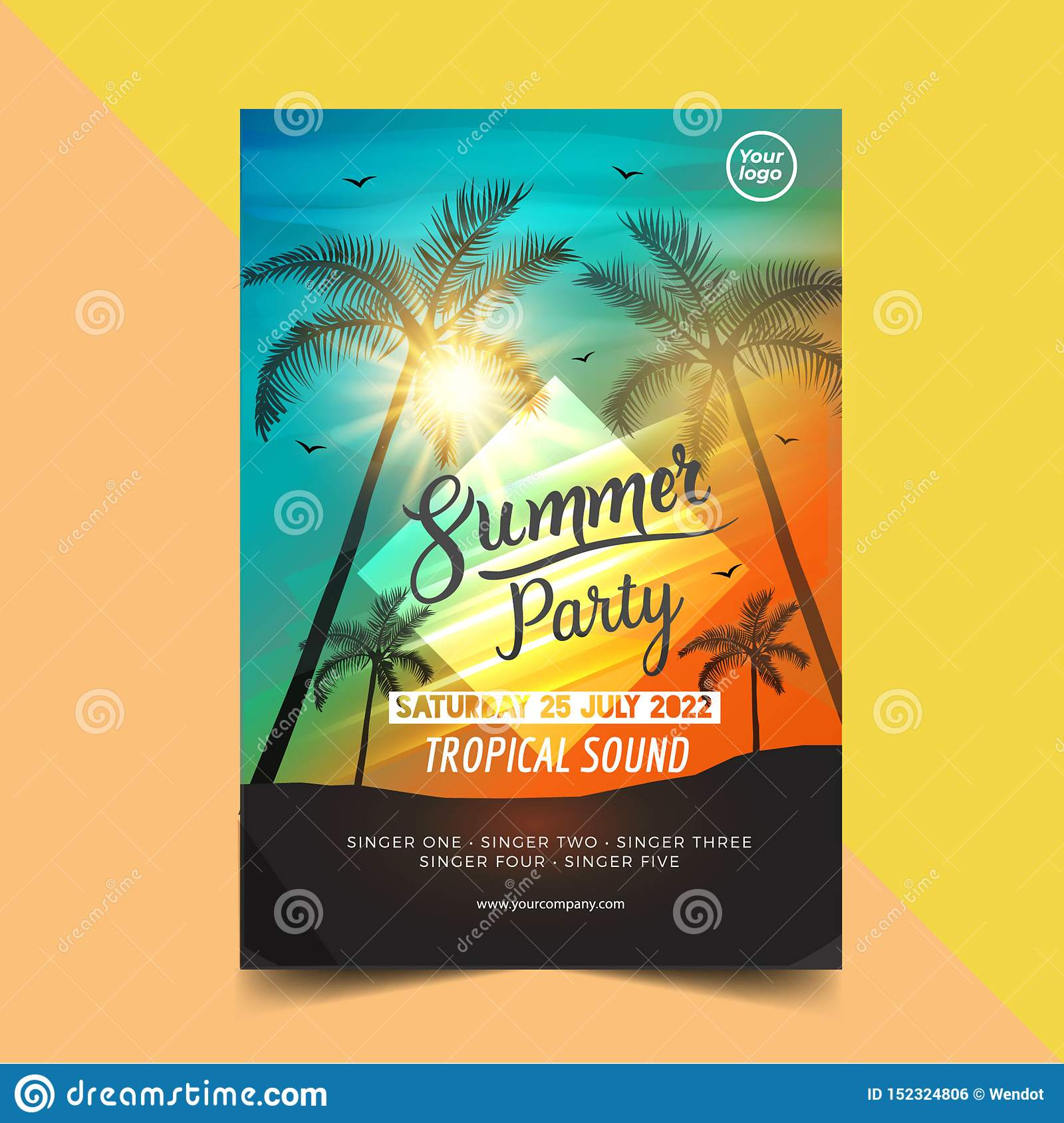 Summer time party poster design template with palms trees silhouettes. Modern style. Vector illustration - Vector