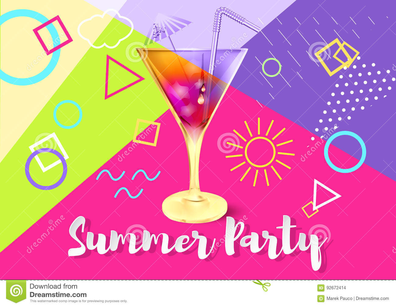 Summer Party Background Stock Vector Illustration Of