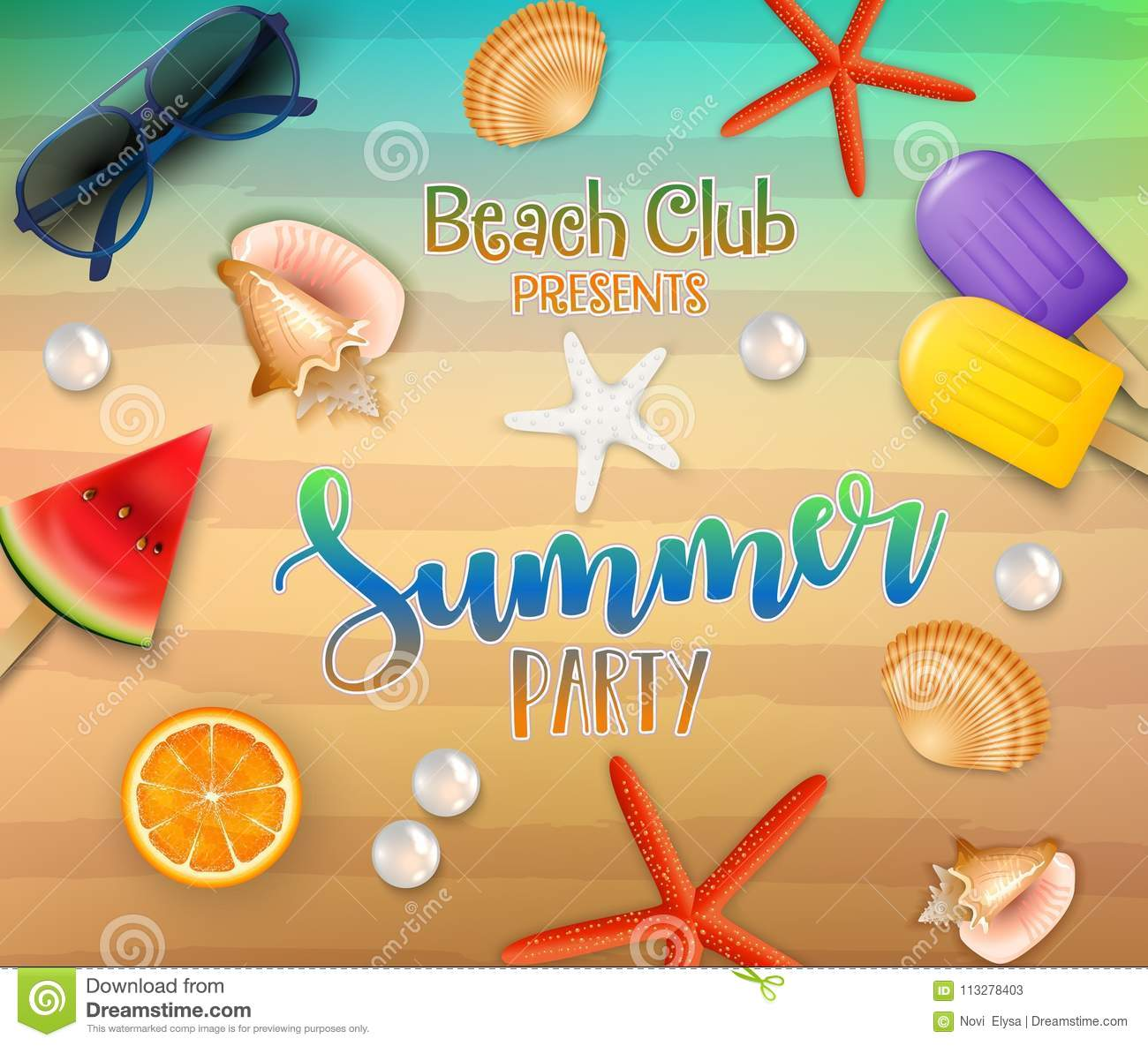 Summer party background. Top view on fresh starfish, orange, watermelon, corals, sunglasses, ice creams, pearl, and sea sand