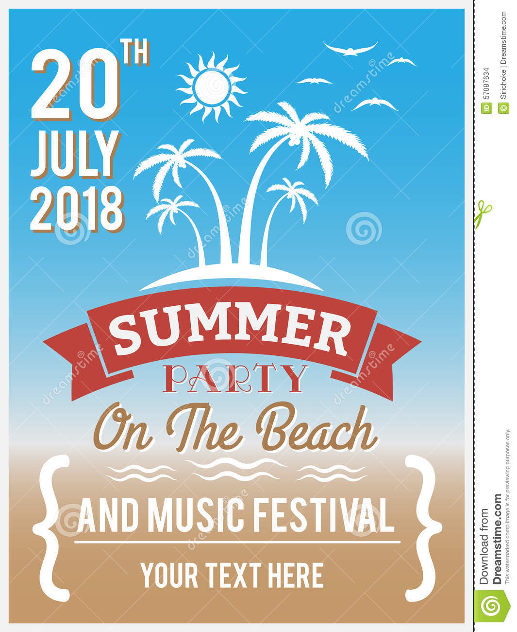 summer party on the beach design for poster flyer stock vector summer party on the beach design for poster flyer